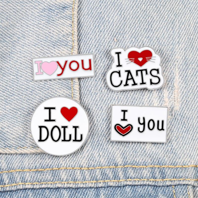 I Love Brooch Pins Set 1