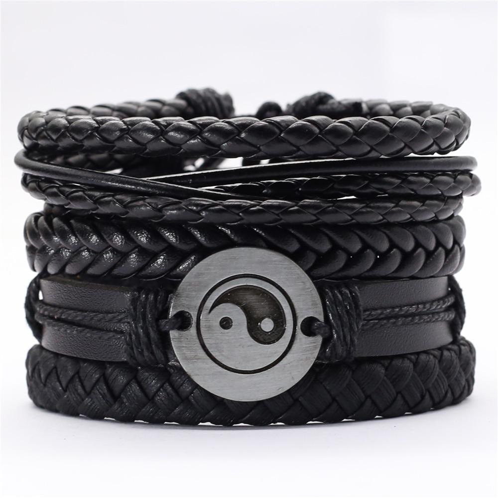 Black Taichi Feather Men Bracelets 5pcs/set Wristband Fashion Rope Wrap Cuff Bangle Leather Bracelets Women Jewelry Accessories(China)