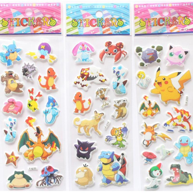 3D Cute Pokemoner Go Stickers Wall Decor For Laptop Despicable Pikachu Sticker Decal Fridge Skateboard Doodle