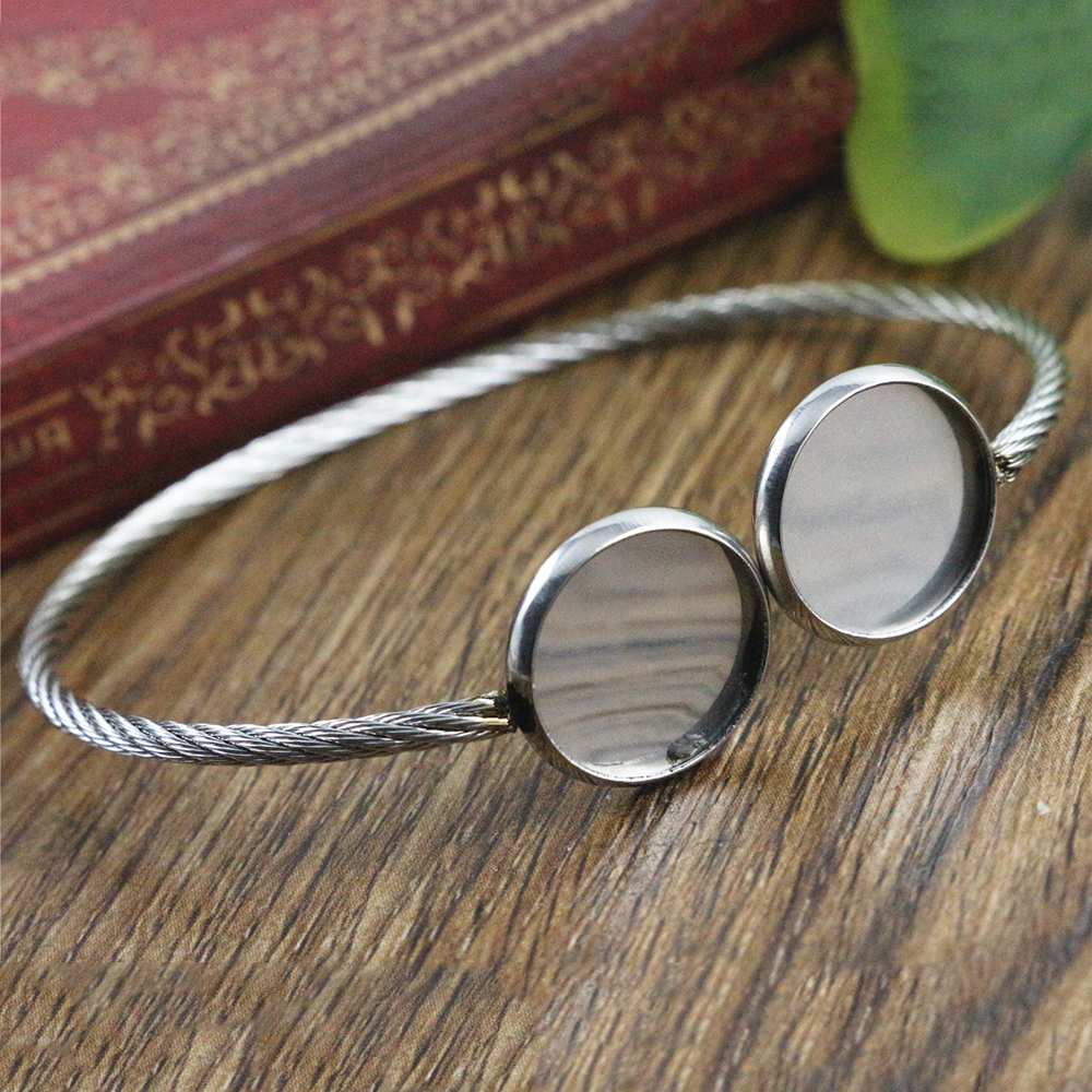 2pcs Fit 12mm Round Glass Cabochon 316 Stainless Steel Super Flexible Bangle Base Bracelet Blank Tray Bezel Setting-T7-01