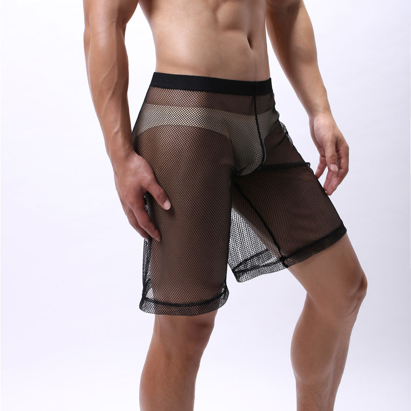Men Mesh See Through Underwear Transparent Men Boxer Half-length Solid U Convex Pouch Boxer Mens Long Underwear Gay Wear