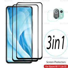 3in1 For Xiaomi Mi 11 Lite 6.55 inch Front Tempered Safety glass for xiaomi xaomi xiami mi 11 lite 4g 5g Camera Screen Protector