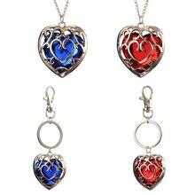 20 шт/партия модные ювелирные изделия легенда о Зельде ожерелье синий кулон в виде красного сердца любовники Пара Ожерелье Женщины Мужчины подарок