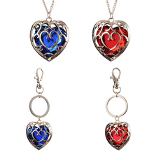 20pcs/lot Wholesale Fashion Jewelry Legend of Zelda Necklace Blue Red Heart Pendant Lovers Couple Necklace Women Men Gift