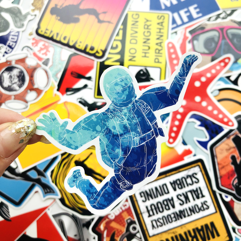 60pcs Color Funny Diving Sticker For Suitcase Laptop Skateboard Stickers Vinyl Kid Toys Car Styling Waterproof Decals