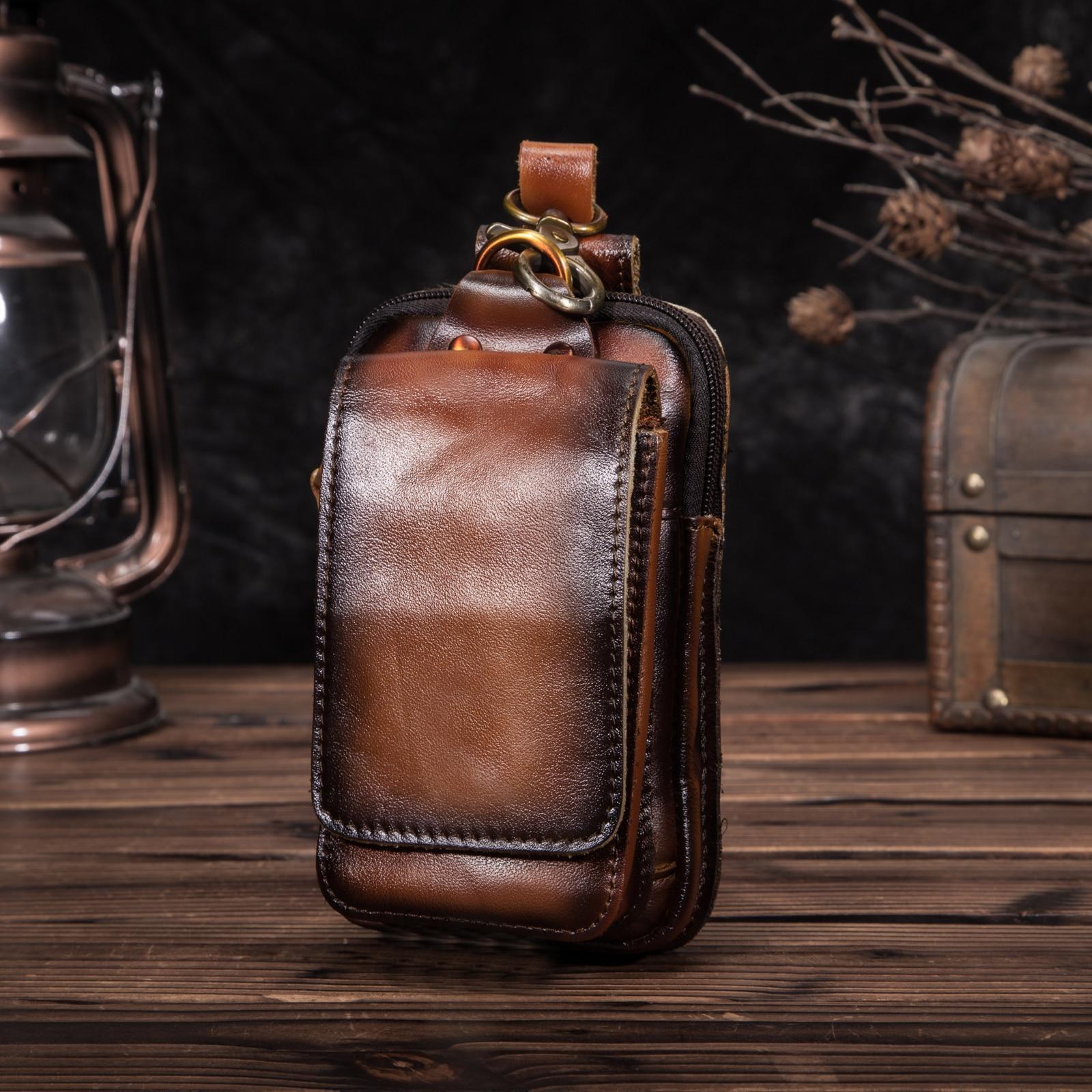 Fashion Original Leather Small Summer Pouch Hook Design Waist Pack Bag Cigarette Case 6