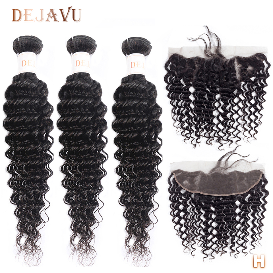 DEJAVU Deep Wave Bundles With Frontal Non-Remy Peruvian Hair Bundles With Closure Human Hair Bundles And Frontal For Black Woman