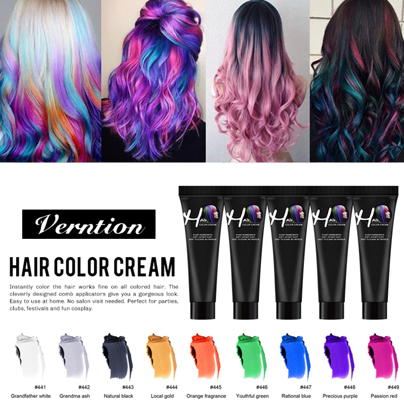 Verntion Hair Color Dye Fashion Unisex Molding Paste Hair Color Hair Paint Easy To Wash Hair Color Wax Hair Colour No Irritation