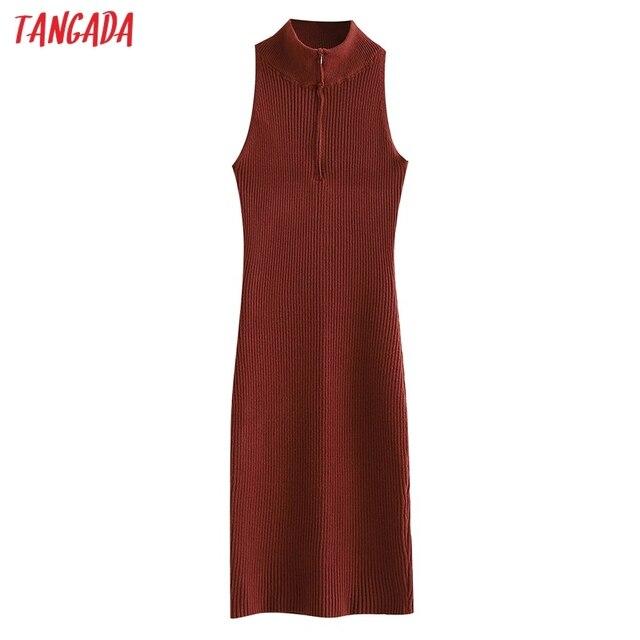 Tangada Fashion Women Solid Elegant Sweater Dress Sleeveless Zipper Ladies Warm Midi Dress QW47 1
