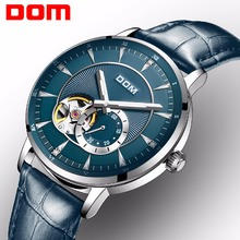 цена на DOM New Blue Men's Skeleton WristWatch Leather Antique Steampunk Casual Automatic Skeleton Mechanical Watches Male Clock M-8104