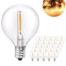 25Pcs G40 LED String Light Bulb Replace 120V/220V Tungsten Bulb E12 Base Socket Holder Bulb For Home Garden Decoration
