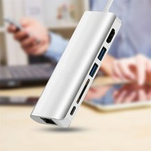 Type-C 3.1 to HDMI USB 3.0 SD Card + Gigabit Network Port Reader USB-C Data Combo HUB Charge Cable Adapter