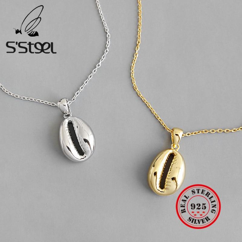 S'STEEL 925 Sterling Silver Pendant Necklace Shell Pendants  Chaine Argent Femme Gifts For Women Bijoux Femme 2019 Fine Jewelry