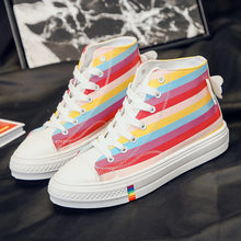 Rainbow Shoes Fashion Women's Shoes Large Size Platform Shoes Women Chunky Sneakers Angel Rainbow Canvas Shoes Women Sneakers(China)