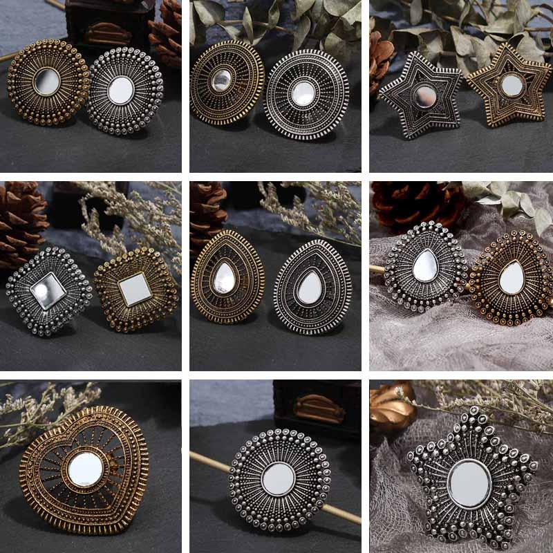 Louco Feng Vintage Geométrica Do Punk Anéis de Dedo para As Mulheres Ouro Prata CZ Cristal Redonda Anel Midi Anéis Declaração de Presentes da Jóia