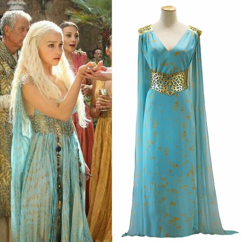 Мать драконов Игра престолов Daenerys Таргариен костюм Длинное Макси платье Хэллоуин партии Косплей Костюм