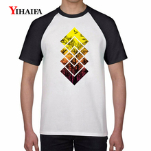 Fashion Geometric Forest 3D Print T Shirts Gradient Graphic Tees Men Casual Summer Tops White Cotton T-Shirt Unisex Tee men forest print tee