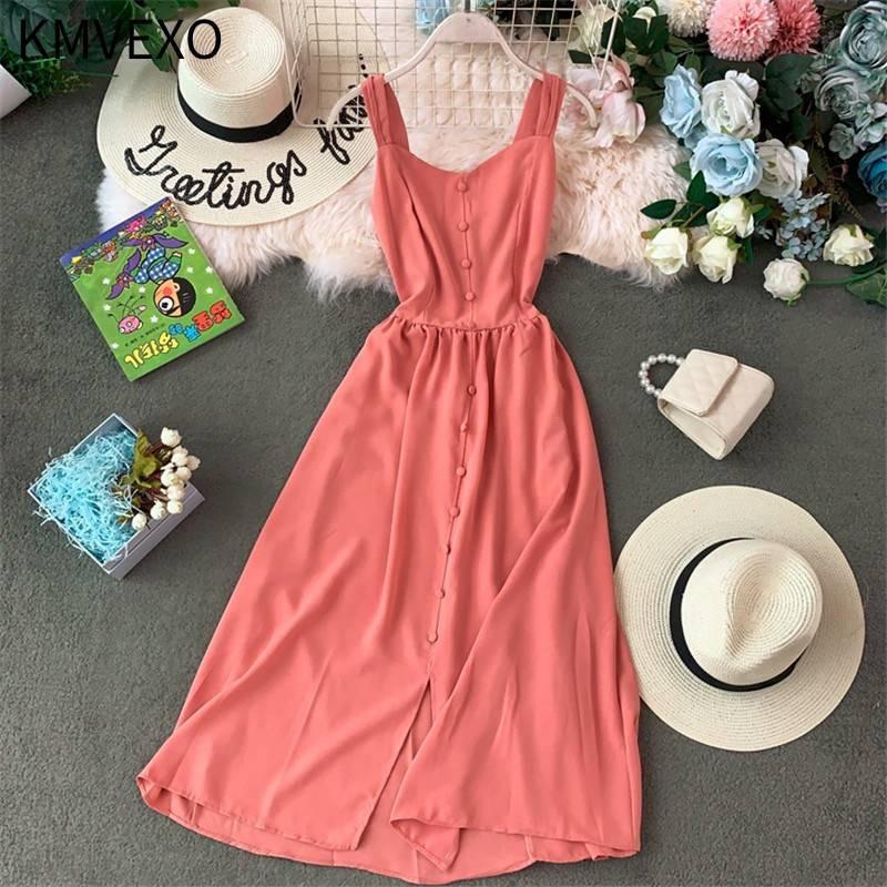 KMVEXO Solid A-line 2020 Summer V-Neck Dress Women Bohemian Vintage Button Long Dresses Pleated Stretch Slim Lady Vestidos
