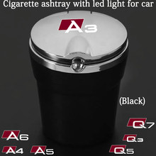 Car Ashtray With Blue LED Light Metal Liner Car LOGO styling for Audi A3 A4 A5 A6 A7 A8 Q3 Q5 Q7 Q8 accessorie