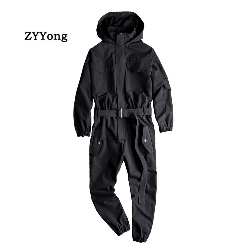 Summer Men Jumpsuit Hooded Long Sleeve Multi-Pocket Beam Feet Overalls Streetwear Clothing Cargo Pants Hip Hop Black  Trousers