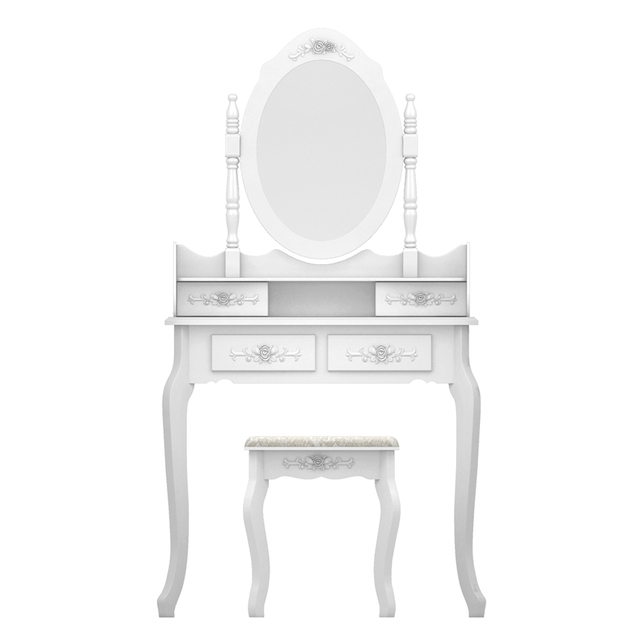 Modern Concise 4 Drawer Dressing Table, 360 Degree Rotation Pull-out Mirror, White Dressing Table with Stool 1