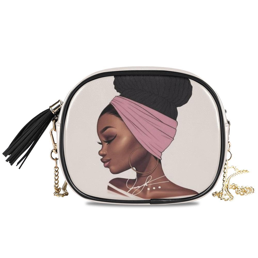ALAZA Luxury Crossbody Shoulder Bag  Afro Girls Black Women Handbags High-quality PU Leather Waterproof Small Chain Bags Female