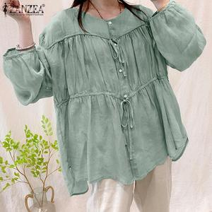 5XL Vintage Blouse Women Autumn Shirt ZANZEA Elegant Buttons Down Solid Tops Tunic Female Patchwork Blusas Femininas Lace Up Top