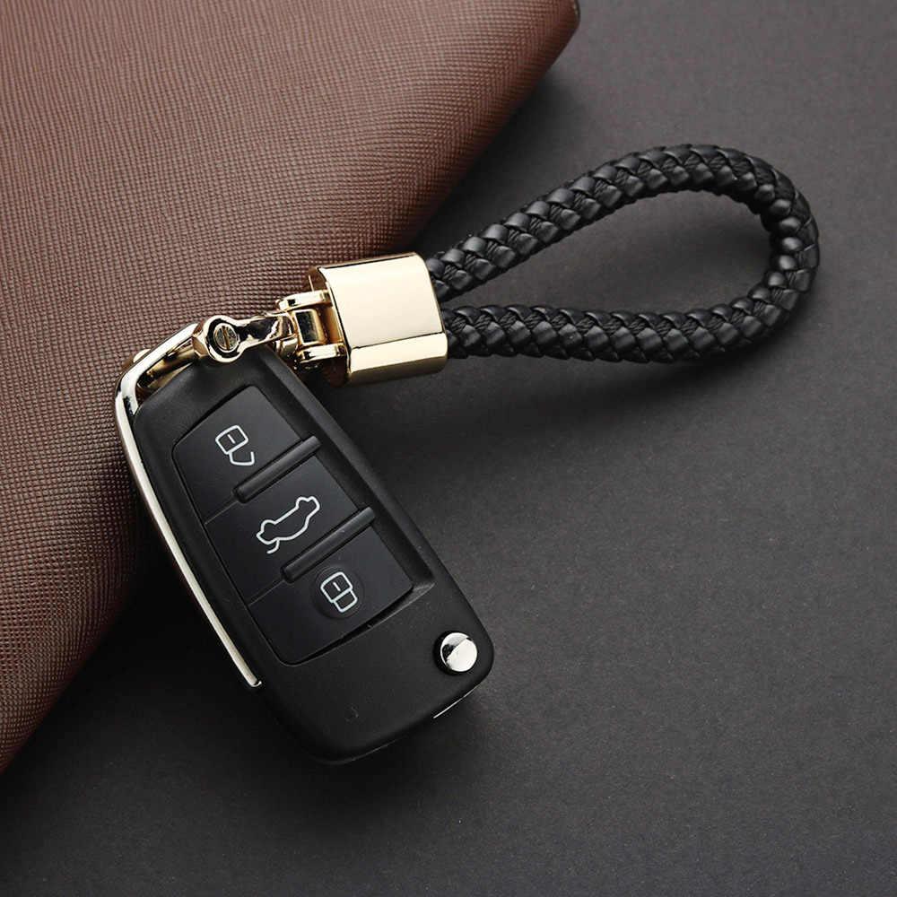 หนังทอมือพวงกุญแจโลหะที่ถอดออกได้ 360 องศาหมุน Horseshoe BUCKLE Braided Moto รถ Key CHAIN For Men ของขวัญ K394