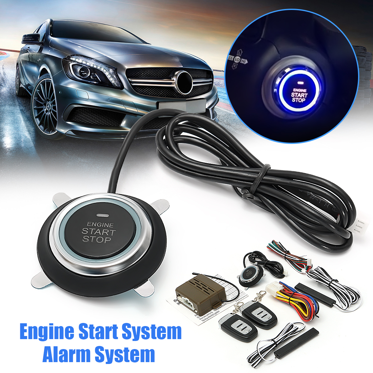 Audew 9pcs Car Engine Start Stop SUV Keyless Entry Engine Start Alarm System Push Button Remote Starter Stop Auto