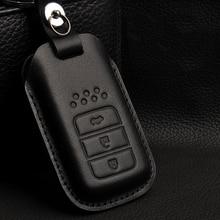 Genuine Leather Car Key Cover Case Bag for HONDA ACCORD CIVIC CRV HRV HR-V FIT JAZZ CITY Crosstour Smart