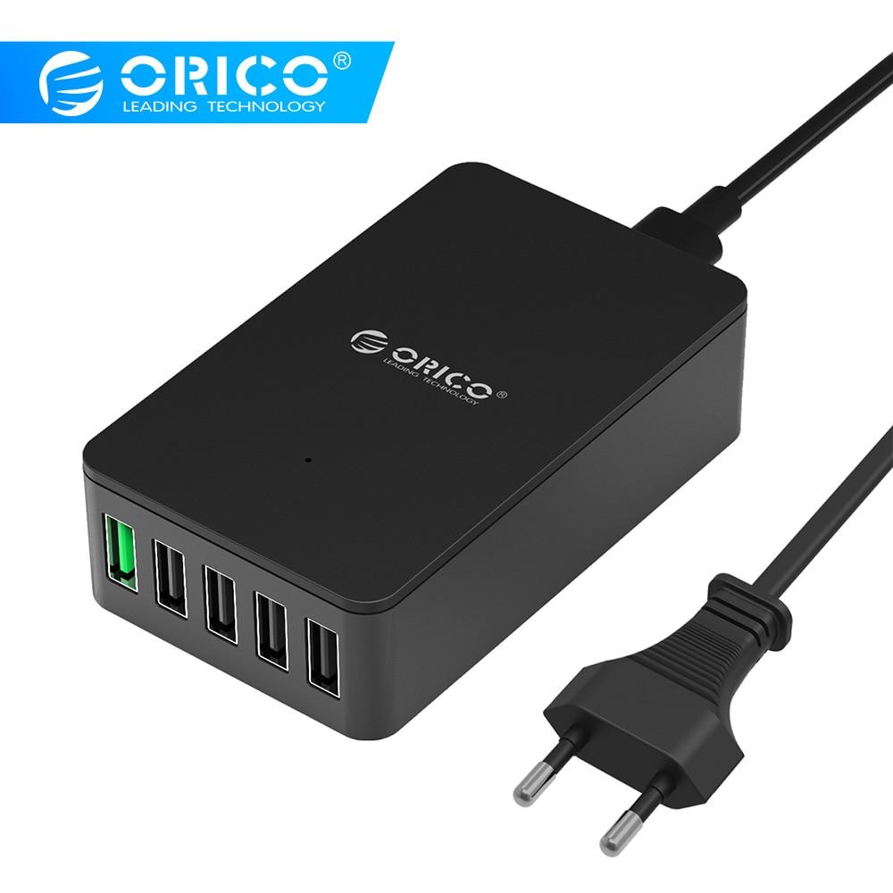ORICO QSE-5U 5 θύρες QC2.0 5V2.4A 9V2A 12V1.5A Επιτραπέζιος φορτιστής USB με βύσμα EU plug / US - μαύρο
