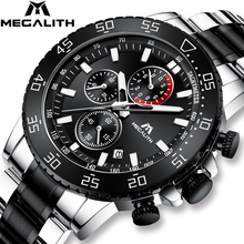 MEGALITH Military Watches Men Stainless Steel Band Waterproof Quartz Wristwatch