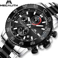 MEGALITH Military Watches Men Stainless Steel Band Waterproof Quartz Wristwatch Chronograph Clock Male Fashion Sporty Watch 8087