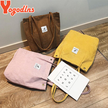 Yogodlns Women Corduroy Shoulder Bag Cotton Canvas Handbag Casual Tote Female Eco Crossbody Bag Ladies Vintage Messenger Bags