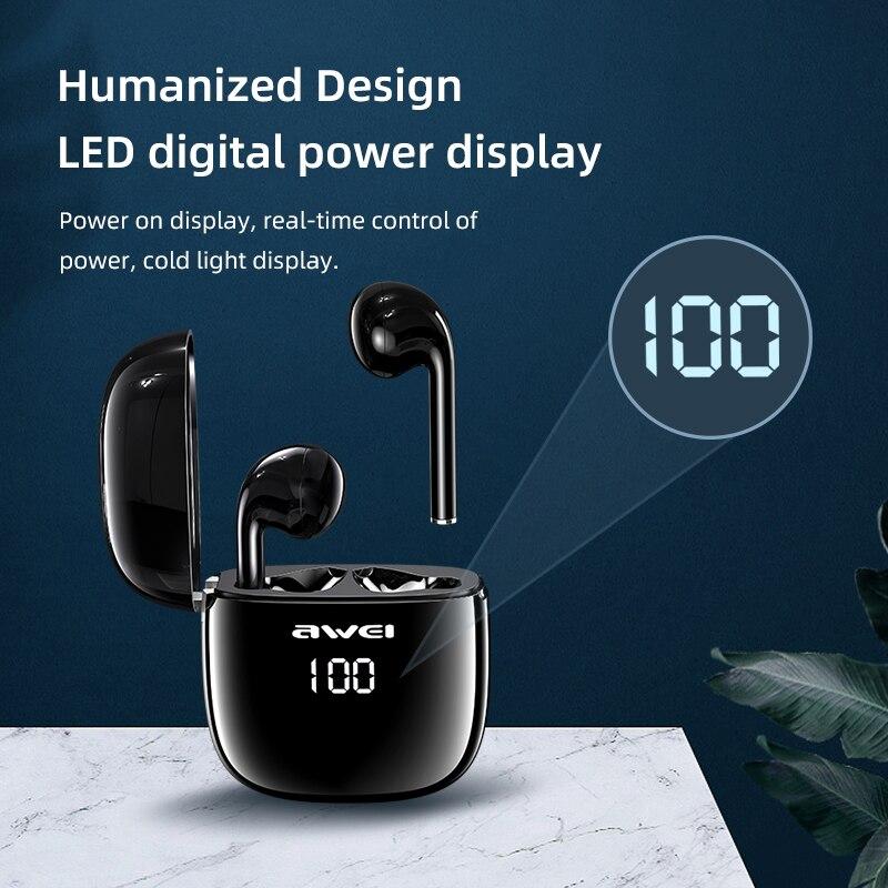 Купить awei tws t28p настоящие беспроводные наушники светодиодный цифровой