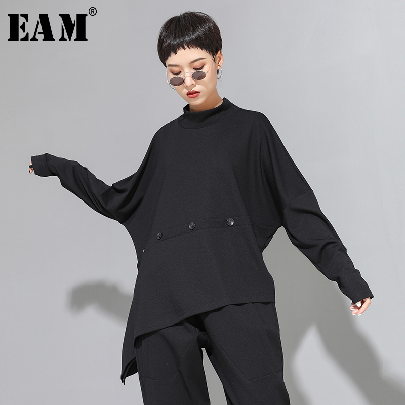 [EAM] Women Black Button Asymmetrical Big Size T-shirt New High Collar Long Sleeve  Fashion Tide  Spring Autumn 2020 1D682