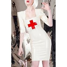 Сексуальный латексный халат медсестры закрытые колготки