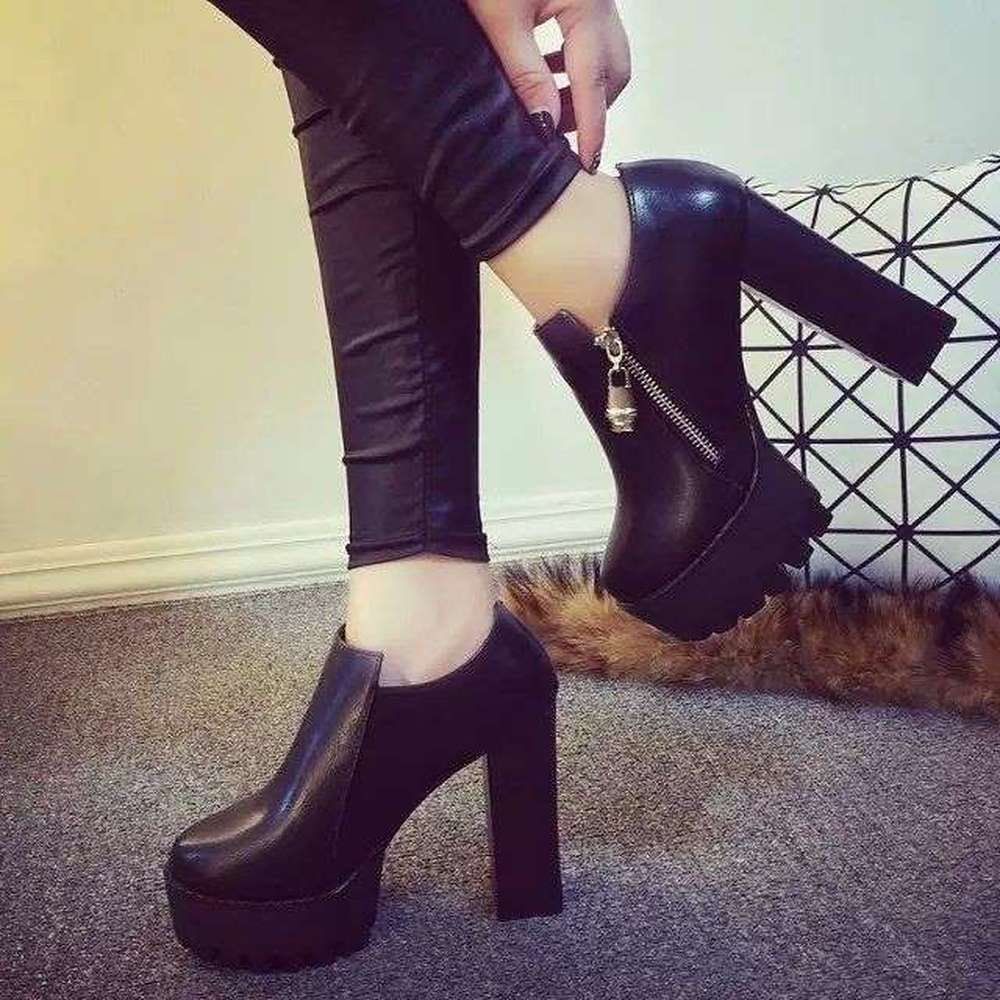 Image 3 - Women Black super high heel women thick with autumn winter 2019 new and bare boots womens shoes with short boots single shoesAnkle Boots   -