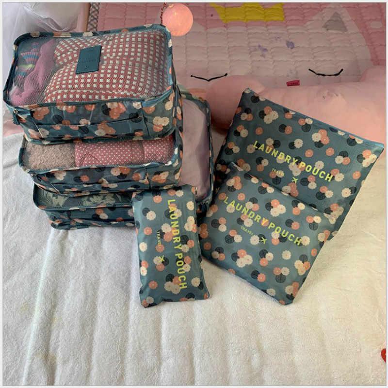 Cubos de embalaje para viaje, 6 unidades/juego, moda, impermeable, gran capacidad, bolsos de organización de ropa, paquete de almacenamiento, bolsa Weekender para hombre