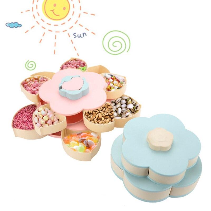 1 Uds. Caja de dulces con forma de pétalo de doble capa, caja de almacenamiento de aperitivos, caja de dulces giratoria