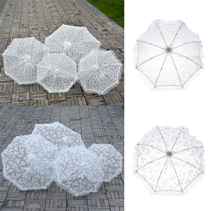 White Lace Wedding Bridal Umbrella Ladies Costume Fancy Dress Accessory Shooting Props|Umbrellas| |  - title=