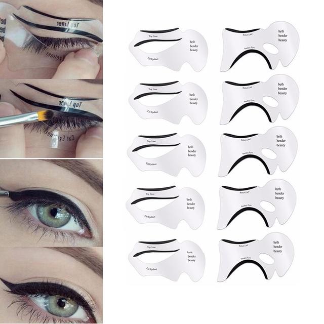 10PCS Eyeliner Eye Shadow Stencils Winged Eyeliner Stencil Models Template Shaping Tools Eyebrows Template Card Makeup Tool
