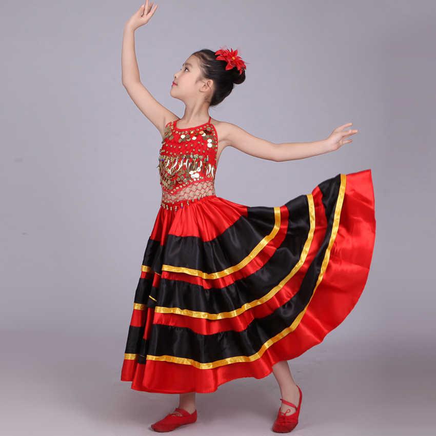Halloween école fête danse Costumes enfants filles Flamenco jupe rouge noir espagnol traditionnel Performance Sequin gilet