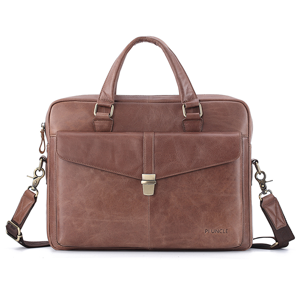 Men's Cow Leather Business  Briefcase Computer Handbag For Work Cross Body Laptop Bag Office Soft Leather Big Bag