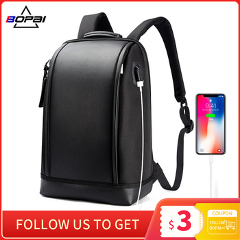 BOPAI Shell Shape Business Men's Office Work Backpack USB Charge Cool Male Leather Daypack Shoulder Bags for - discount item  15% OFF Backpacks