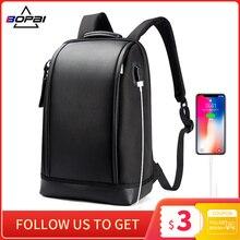 BOPAI kabuk şekli iş erkek ofis iş sırt çantası USB şarj serin erkek deri sırt çantası sırt çantası erkek omuz çantaları için çalışma
