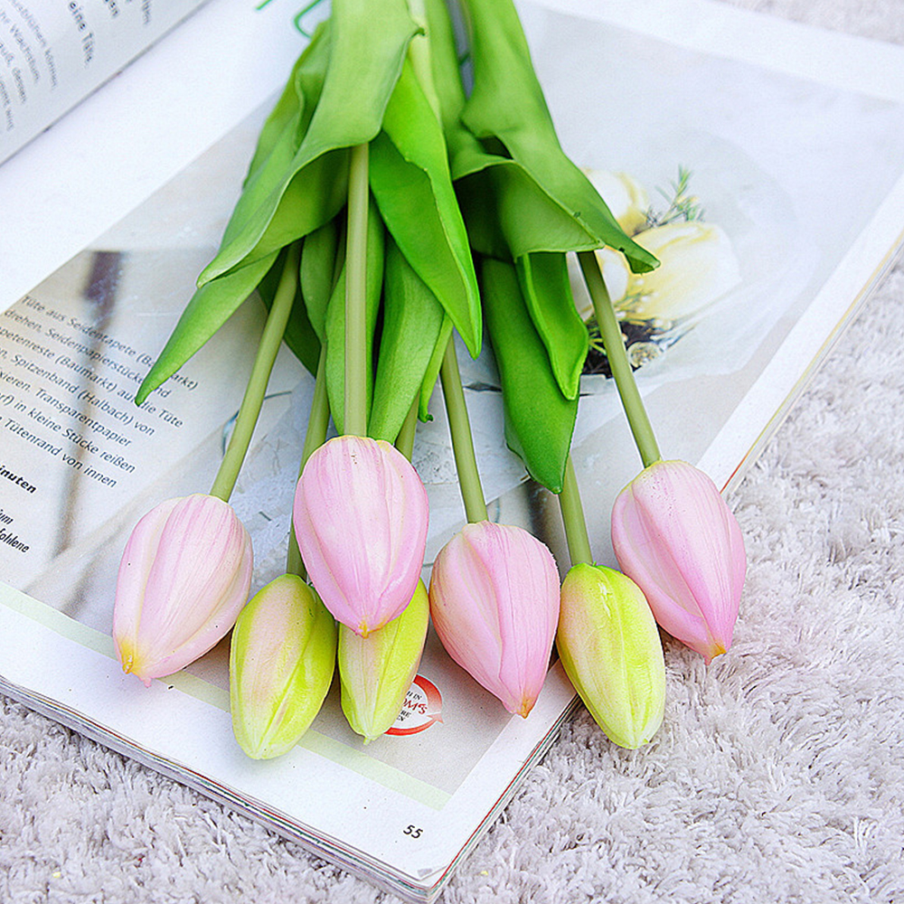 7Pcs Tulips Artificial Flowers For Home Wedding Decoration Fake Bride Hand Flowers Real Touch Soft Silicone Tulip flores 8
