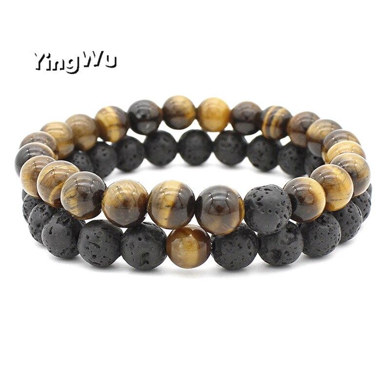 Yingwu Natural Stone Bracelet Men 8mm Lava Beads Braslet For Men Classic Cool Biker Couple Braclets Gift