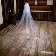 Tanpell Ivory Five-Pointed Star Appliques Cathedral Wedding Veil Long Appliques Edge Bridal Veil with Comb Wedding Veil(China)