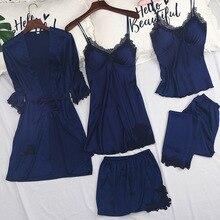New Womens 5PC Strap Top Pants Suit Pajamas Sleepwear Sets Spring Autumn Home Wear Nightwear Kimono Robe Bath Gown M-XL